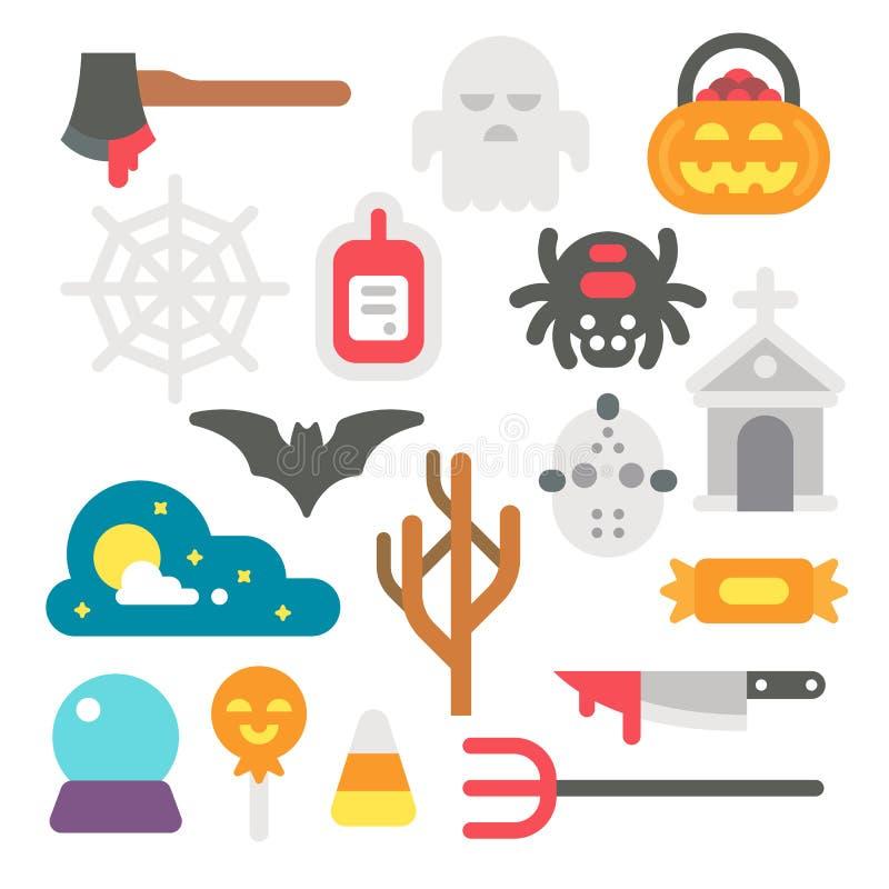Płaskiego projekta Halloweenowe rzeczy ustawiać ilustracja wektor