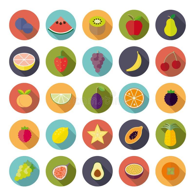 Płaskiego projekta ikony Owocowy Kółkowy Wektorowy set ilustracja wektor