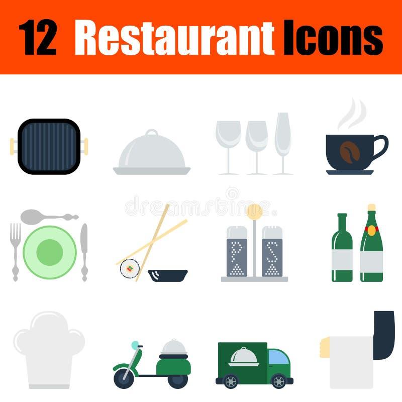 Płaskiego projekta ikony restauracyjny set royalty ilustracja