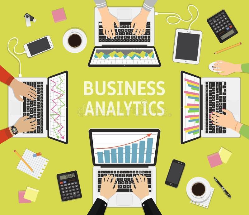 Płaskiego projekta ilustracyjni pojęcia dla biznesowej analizy, planowanie, drużynowa praca i brainstorming, ilustracji