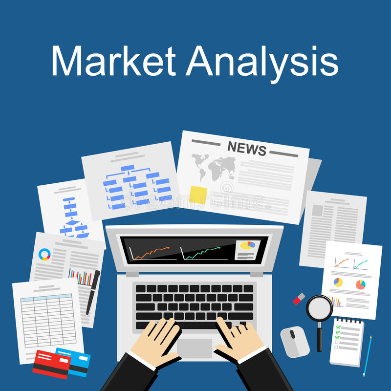 Płaskiego projekta ilustracyjny pojęcie dla targowej analizy, plan biznesowy, inwestycja, marketing reportaż, zarządzanie ilustracja wektor