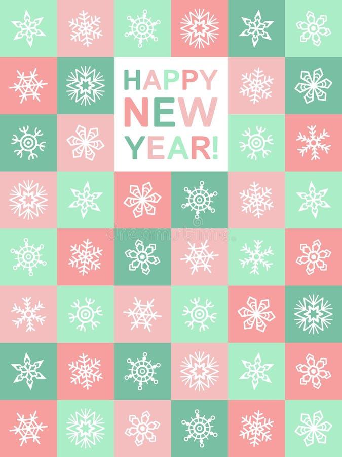 Płaskiego projekta nowego roku Szczęśliwy kartka z pozdrowieniami z płatkami śniegu ilustracji