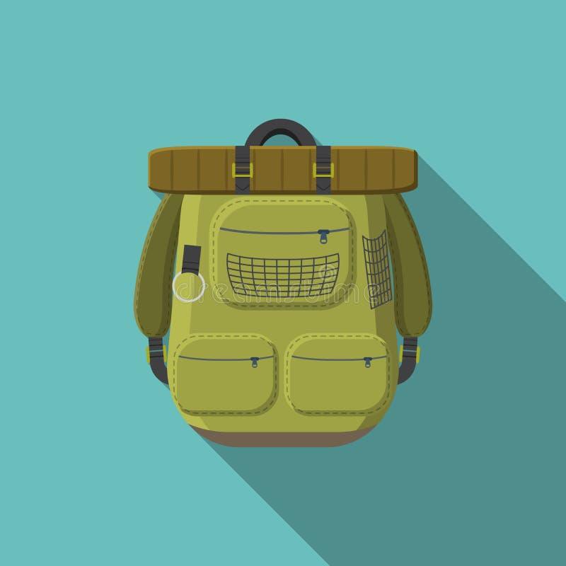 Płaskiego projekta nowożytna wektorowa ilustracja turystyczna plecak ikona camping i wycieczkować wyposażenie z długim cieniem, royalty ilustracja