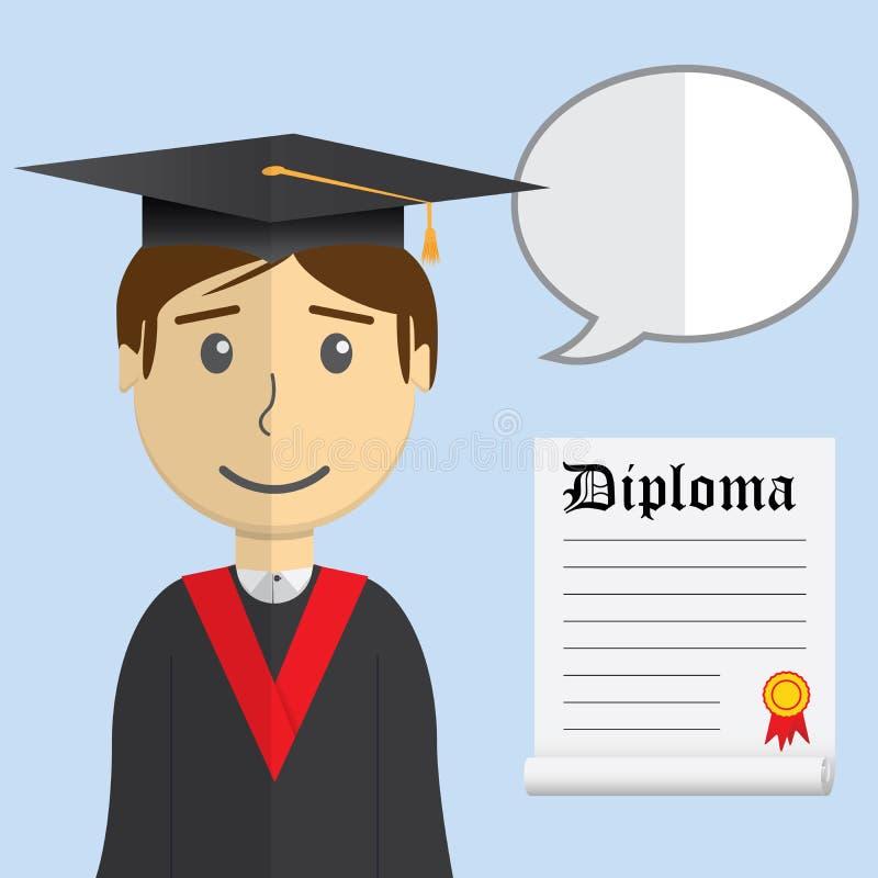 Płaskiego projekta nowożytna wektorowa ilustracja uczeń w skalowanie todze z dyplomem i mową buble na koloru tle ilustracja wektor