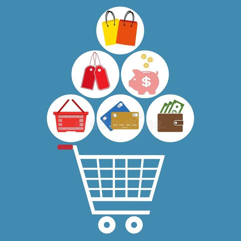 Płaskiego projekta nowożytny ilustracyjny ustawiający zakupy marketing