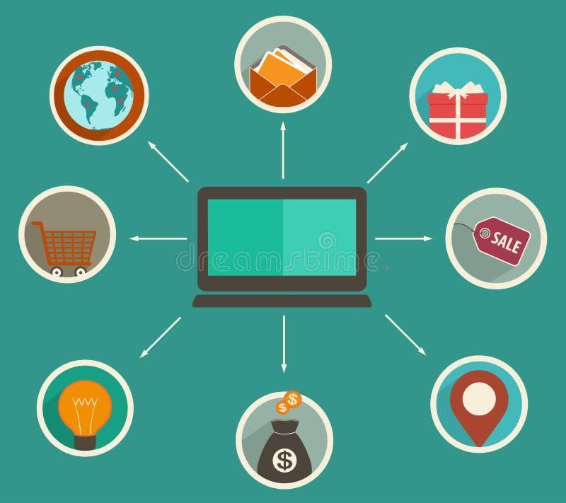 Płaskiego projekta online finanse app, pieniężne analityka tropi na cyfrowym przyrządzie royalty ilustracja