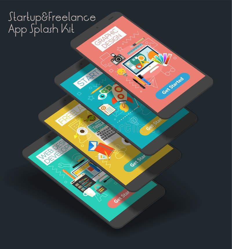 Płaskiego projekta UI wyczulona wisząca ozdoba app z 3d mockups ilustracji