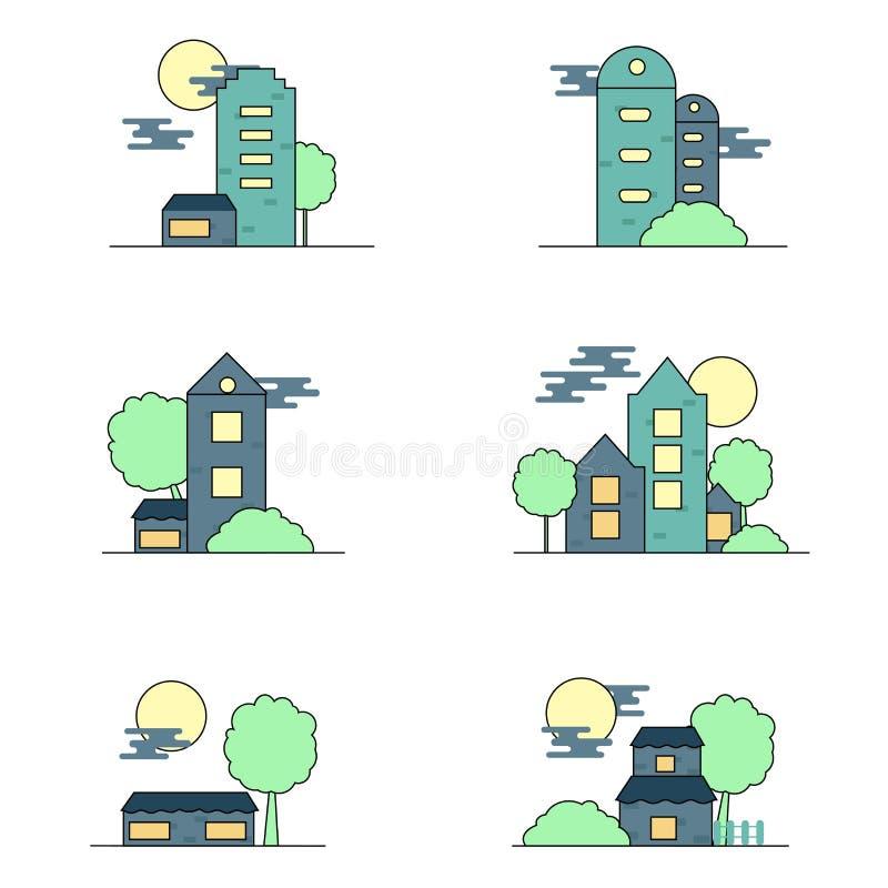 Płaskiego projekta ustalona ilustracja domy ilustracji