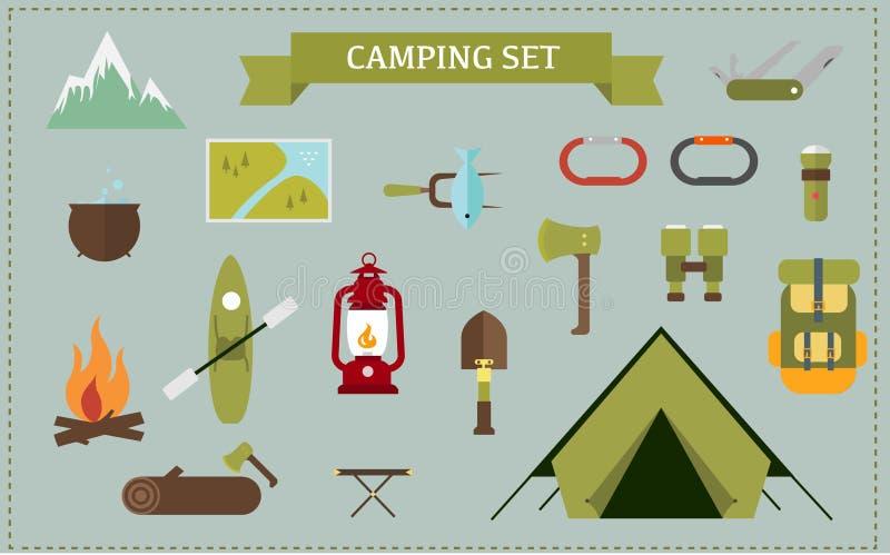 Płaskiego projekta Ustalony camping zdjęcia stock