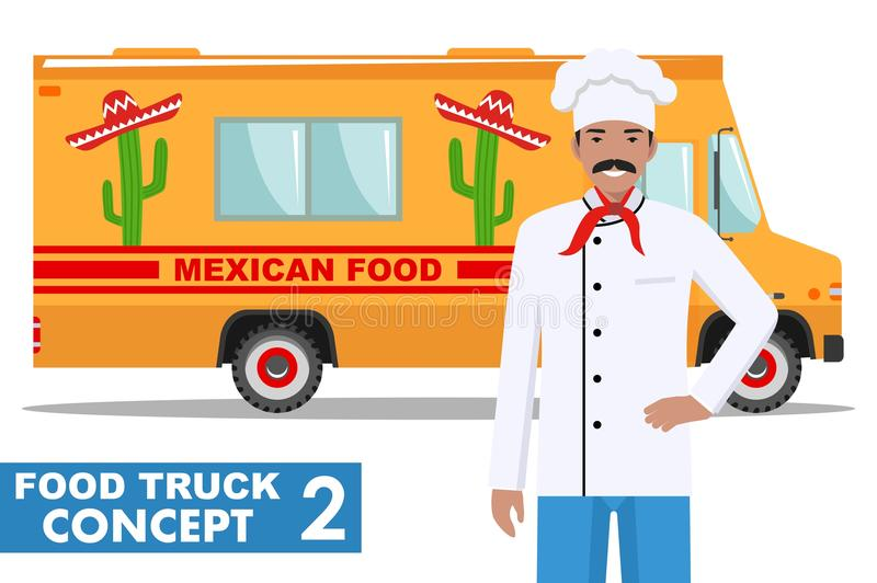 Płaskiego projekta wektorowa ilustracja jedzenie ciężarówka i kucharz, kierowniczy szef kuchni w mundurze Tradycyjna Meksykańska  ilustracji