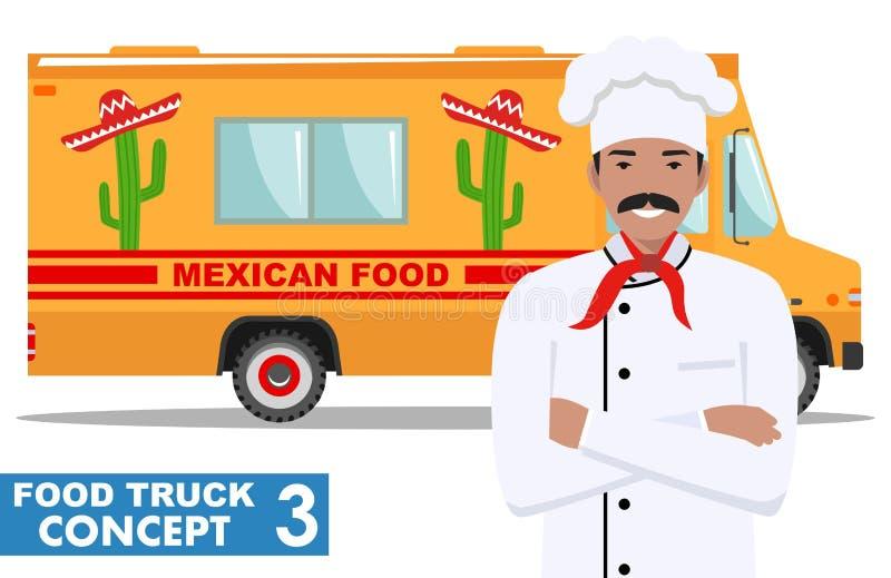 Płaskiego projekta wektorowa ilustracja jedzenie ciężarówka i kucharz, kierowniczy szef kuchni w mundurze Tradycyjna Meksykańska  royalty ilustracja