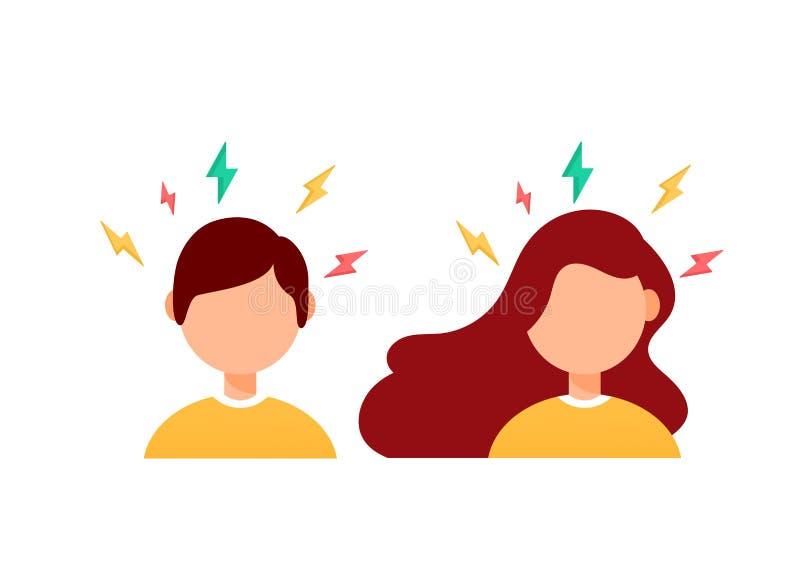 Płaskiego projekta wektorowa ilustracja migrena, frustracja Kobieta i samiec przewodzimy z pokazem stres royalty ilustracja