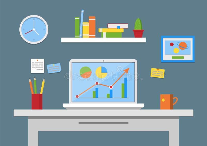 Płaskiego projekta wektorowa ilustracja, nowożytny biurowy wnętrze Kreatywnie biurowy workspace z komputerem, notatki, falcówki,  royalty ilustracja