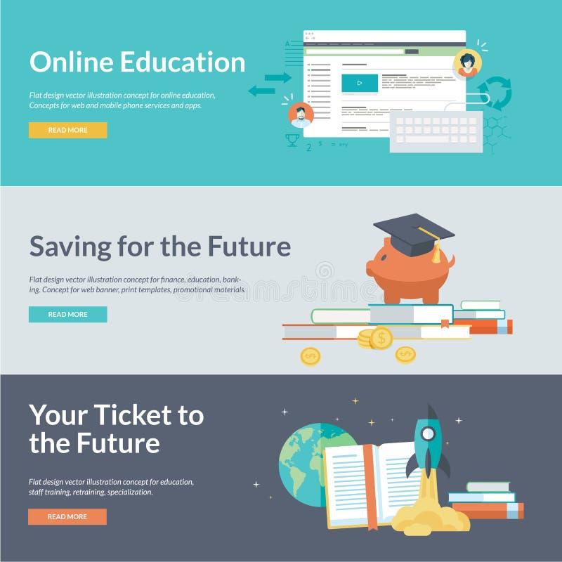 Płaskiego projekta wektorowi ilustracyjni pojęcia dla online edukaci