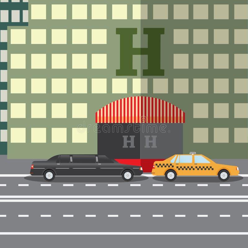 Płaskiego projekta wektorowy ilustracyjny pojęcie dla miasto hotelu, parkująca limuzyna i taxi i, sityskape ilustracji