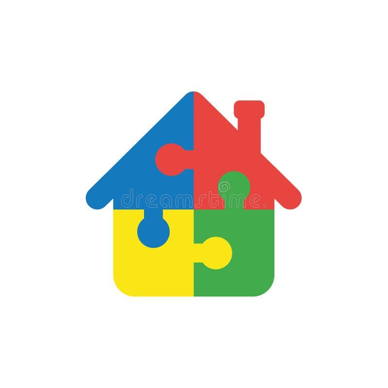 Płaskiego projekta wektorowy pojęcie domowa kształt łamigłówka składa connecte ilustracja wektor