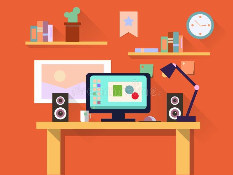 Płaskiego projekta wewnętrzny pojęcie miejsce pracy z komputerem, laptop, lampa, robić liście, pracujący programy, organizator, r ilustracja wektor