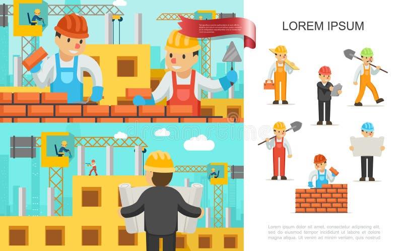 Płaskiego przemysłu budowlanego Kolorowy pojęcie ilustracja wektor