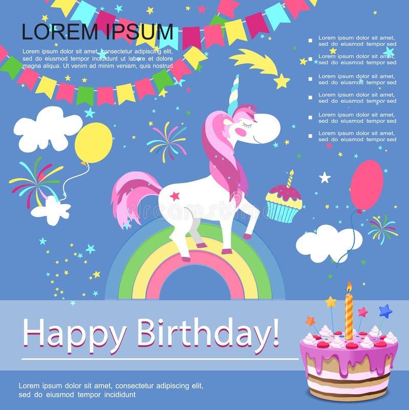 Płaskiego wszystkiego najlepszego z okazji urodzin Kolorowy szablon royalty ilustracja