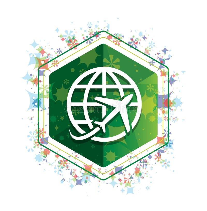 Płaskiej światowej ikony rośliien wzoru zieleni sześciokąta kwiecisty guzik ilustracja wektor
