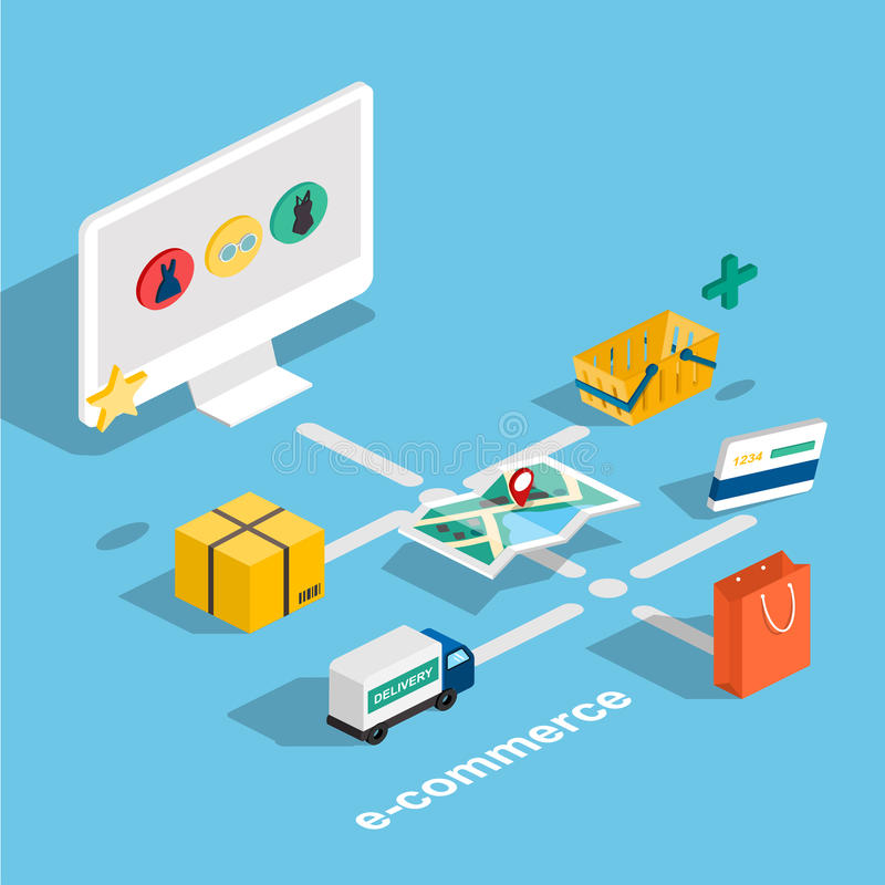 Płaskiej 3d sieci isometric handel elektroniczny, elektroniczny biznes, online sh ilustracji