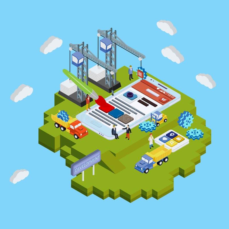 Płaskiej 3d sieci isometric pojęcie Mobilny app rozwój ilustracja wektor