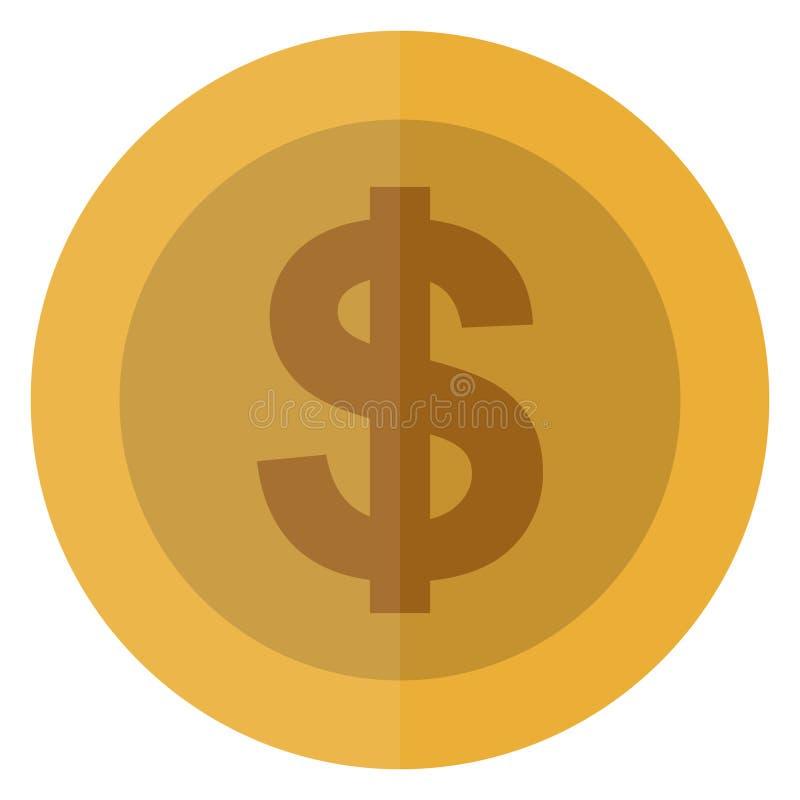 Płaskiej Dolarowej waluty round moneta Ameryka, usa Kasynowa waluta, uprawia hazard monetę, wektorowa ilustracja odizolowywająca  royalty ilustracja