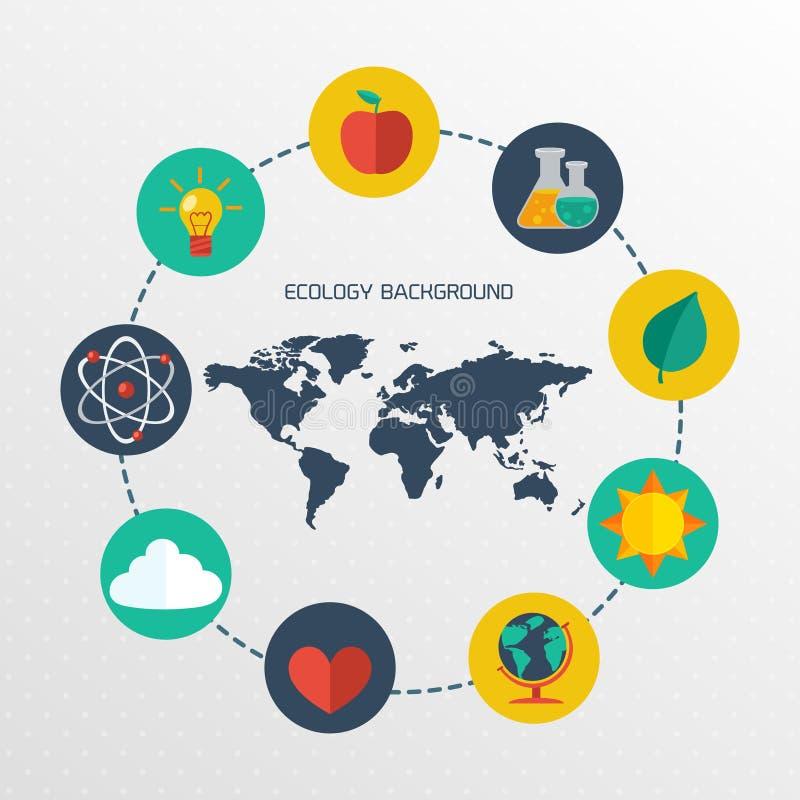 Płaskiej ekologii infographic tło ilustracja wektor