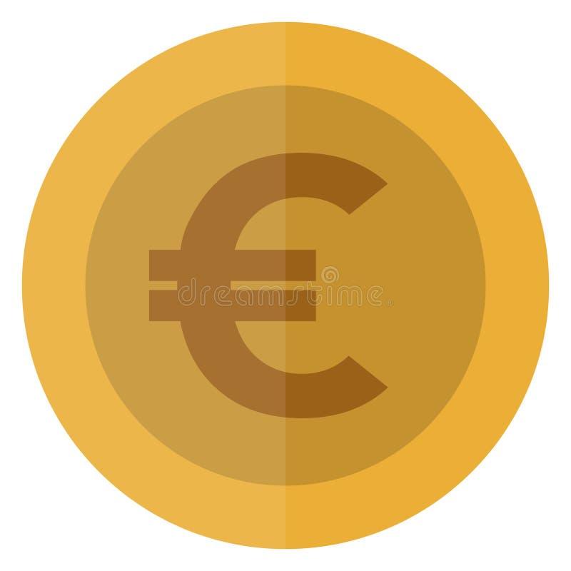 Płaskiej euro waluty round moneta europejczycy Kasynowa waluta, uprawia hazard monetę, wektorowa ilustracja odizolowywająca na bi ilustracja wektor