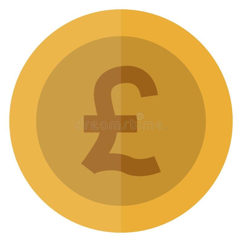Płaskiej funtowego szterlinga waluty round moneta UK, Anglia, Brytania Kasynowa waluta, uprawia hazard monetę, wektorowa ilustrac royalty ilustracja