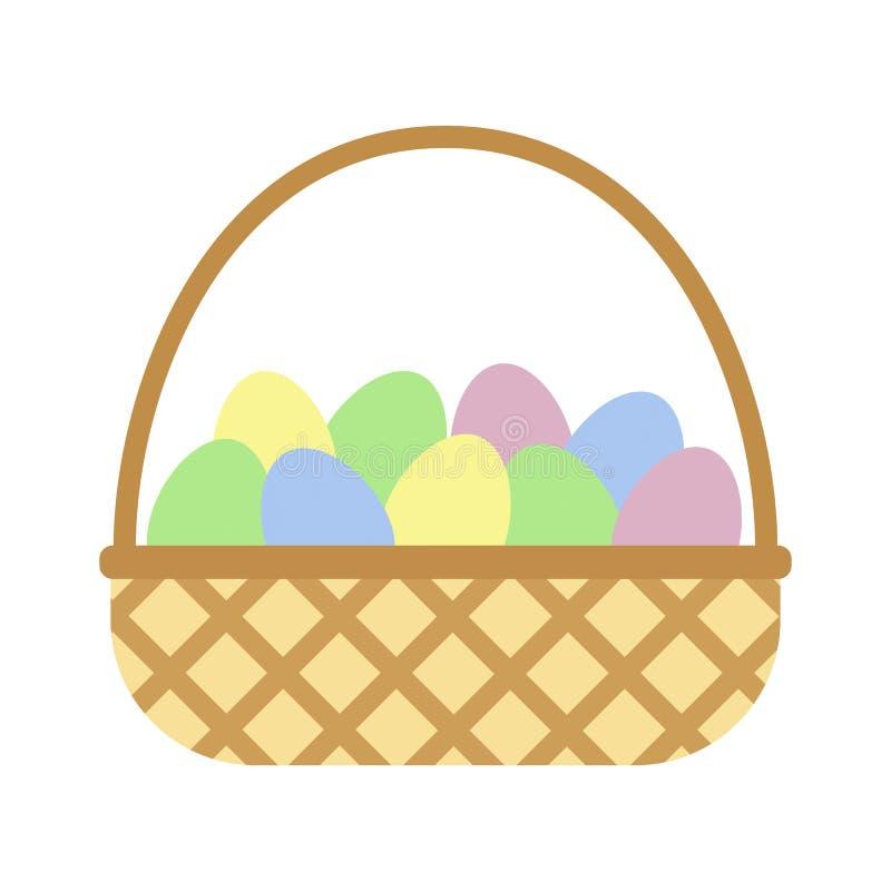 Płaskiej ikony łozinowy kosz z jajkami ilustracji