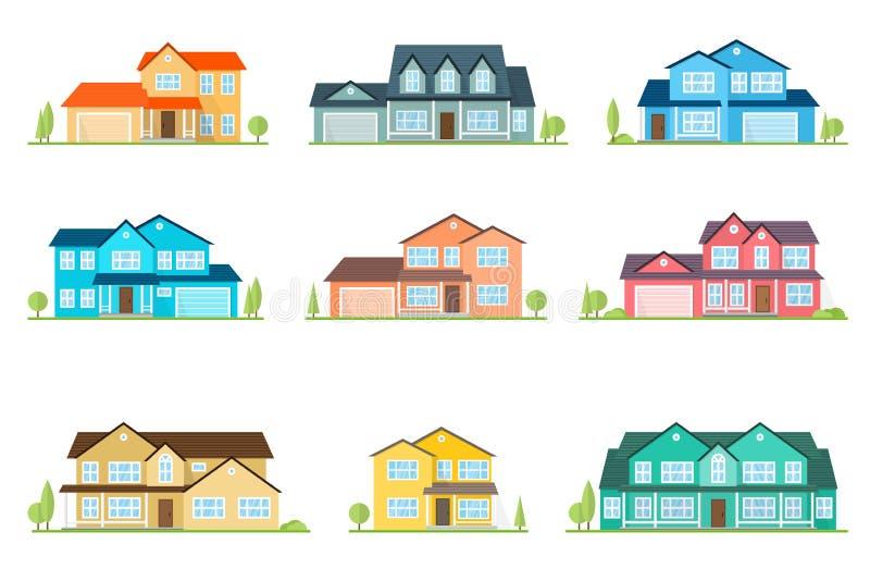 Płaskiej ikony amerykanina podmiejski dom Dla sieć projekta i zastosowanie interfejsu, także pożytecznie dla infographics 3d tła  royalty ilustracja