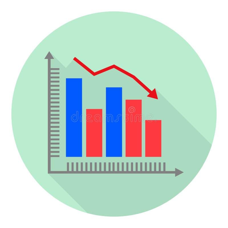 Płaskiej ikony analityczny wykres z spada trendem ilustracji