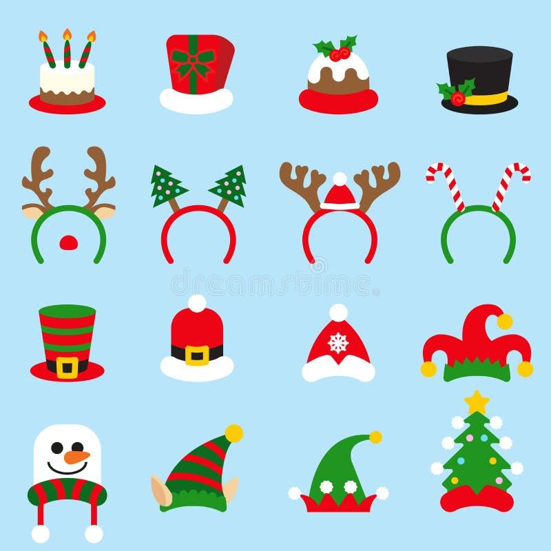 Płaskiej ikony karnawałów ustalone Bożenarodzeniowe nakrętki Święty Mikołaj kapelusz ilustracji
