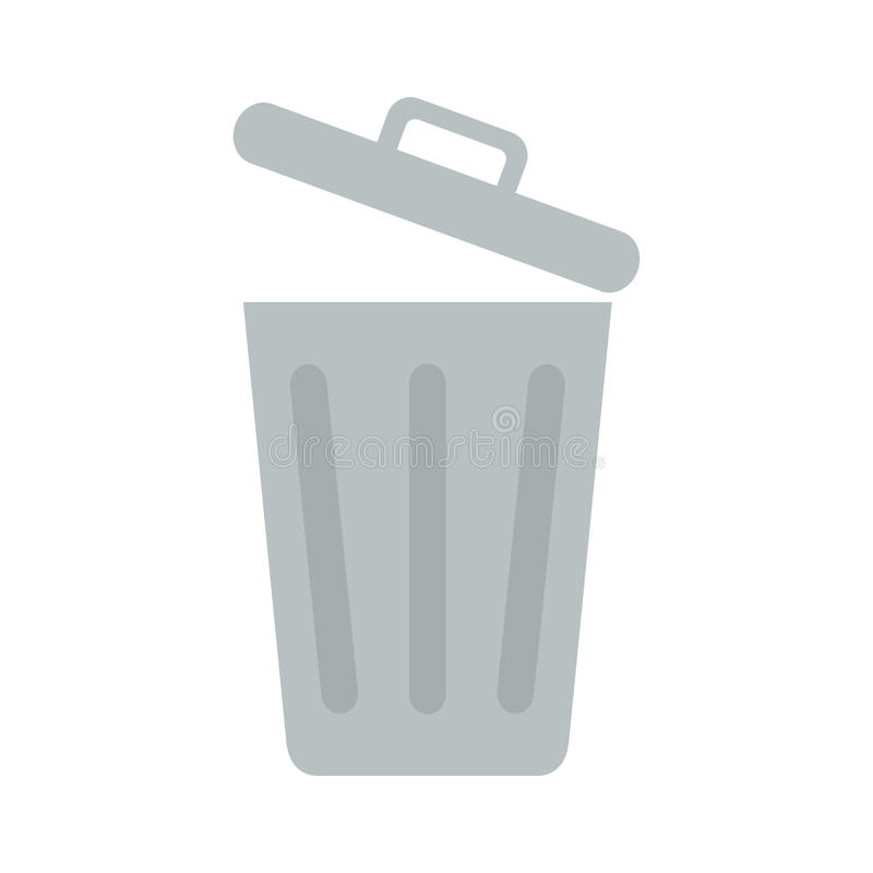 Płaskiej ikony rozpieczętowany kubeł na śmieci ilustracji