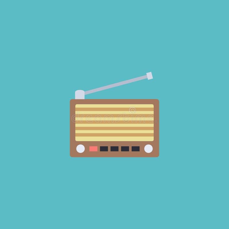 Płaskiej ikony tuneru Retro element Wektorowa ilustracja Płaski ikony radio Odizolowywający ilustracja wektor