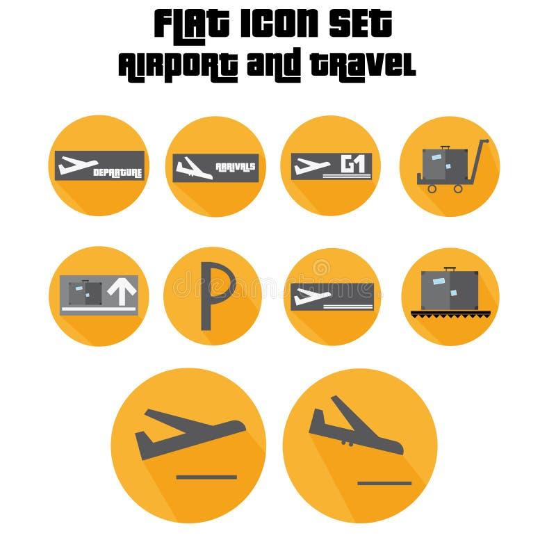 Płaskiej ikony Ustaleni przyjazdy, odjazd, walizka znak Z samolotem W lotnisku ilustracja wektor