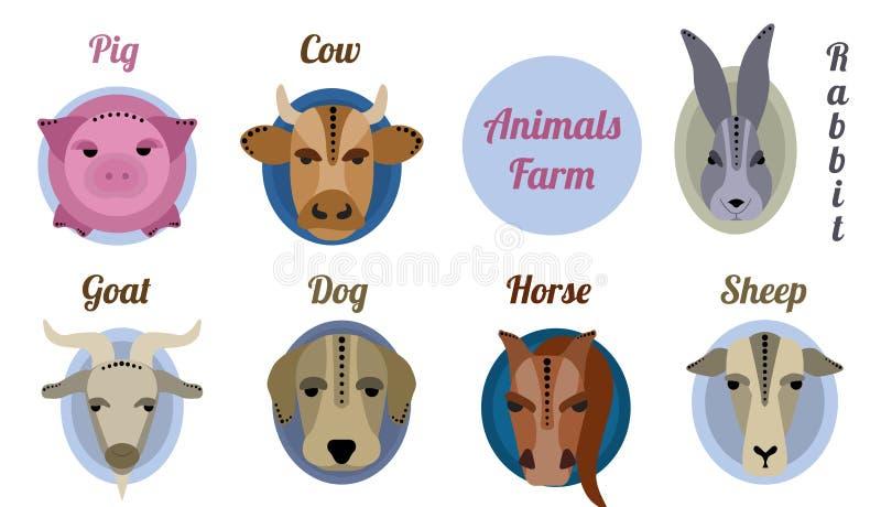 Płaskiej ikony zwierzęcy gospodarstwo rolne royalty ilustracja