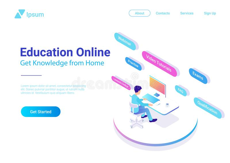 Płaskiej Isometric edukaci Online wektor Mężczyzna workin ilustracja wektor
