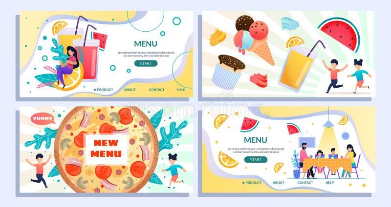 Płaskiej lądowanie strony lata Ustalony Reklamowy Nowy menu ilustracja wektor