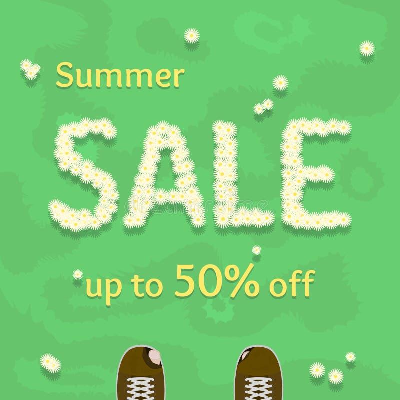 Płaskiej lato sprzedaży wektorowy sztandar, plakat, ulotka szablon ilustracji