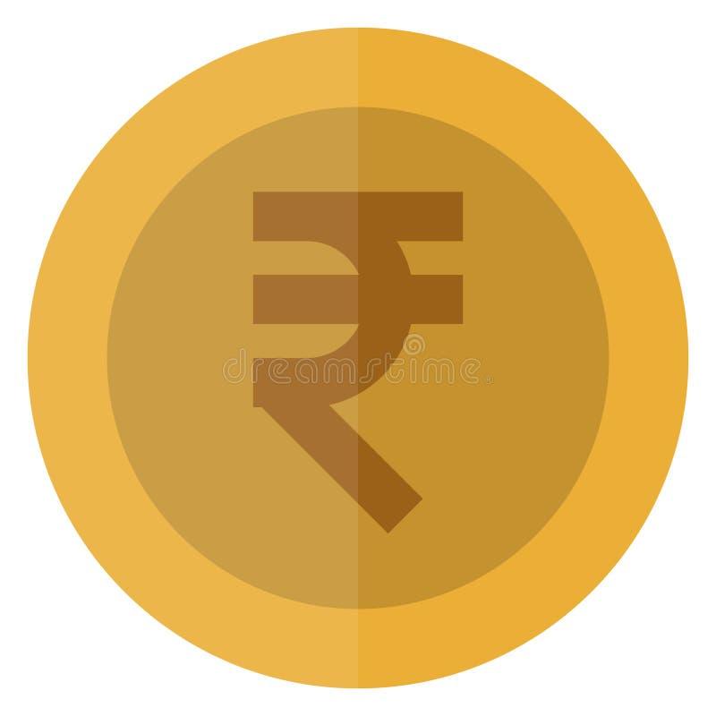 Płaskiej rupii waluty round moneta India, hindus, Azja Kasynowa waluta, uprawia hazard monetę, wektorowa ilustracja odizolowywają ilustracja wektor