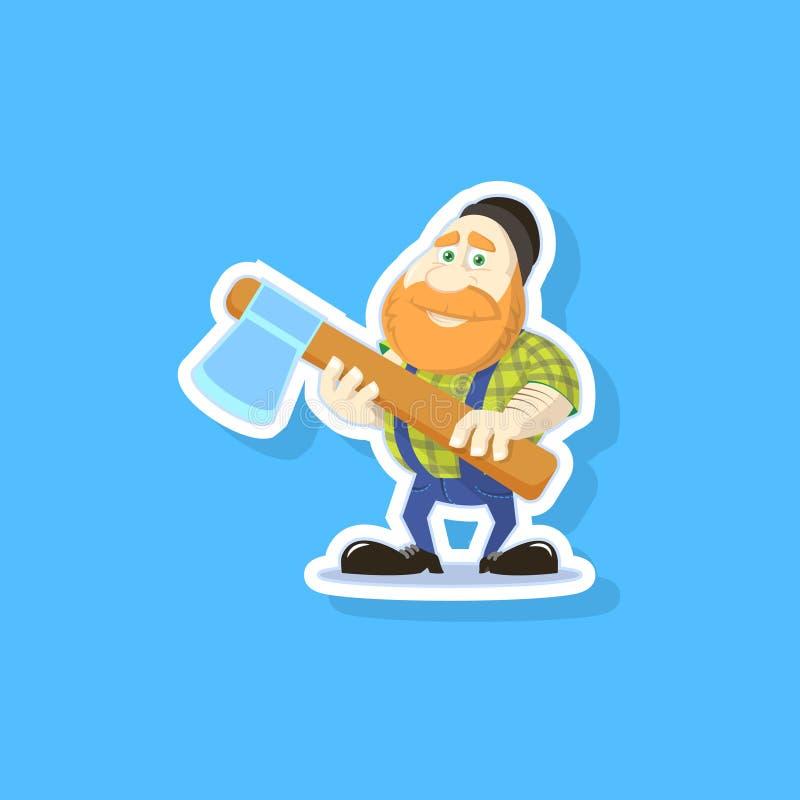 Płaskiej sztuki wektorowa ilustracja śliczny kreskówki lumberjack z cioską ilustracji