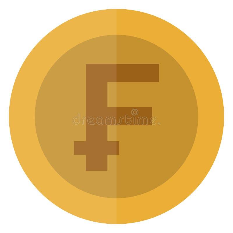 Płaskiej Szwajcarskiego franka waluty round moneta Szwajcaria Kasynowa waluta, uprawia hazard monetę, wektorowa ilustracja odizol ilustracja wektor