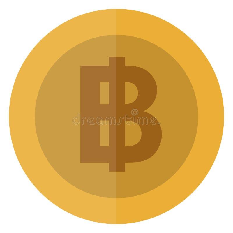 Płaskiej Tajlandia bahta waluty round moneta Tajlandzka, kasynowa waluta, uprawia hazard monetę, wektorowa ilustracja odizolowywa ilustracja wektor
