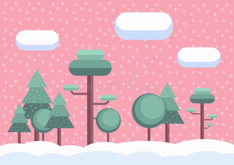 Płaskiej zimy lasowy Bożenarodzeniowy tło Kreskówka widoku spada śnieg różowe niebo royalty ilustracja
