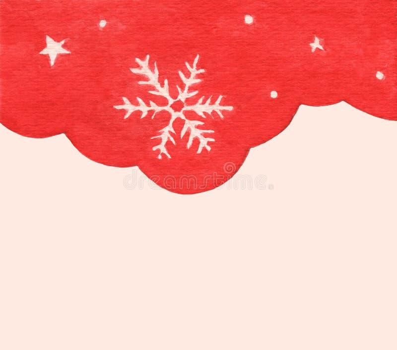 Płatek śniegowy i gwiazda w tle sezonu zimowego czerwonego nieba Zimowa granica projektu fotografia royalty free