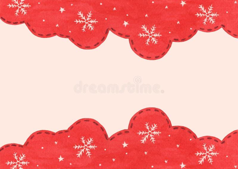 Płatek śniegowy i gwiazda w tle sezonu zimowego czerwonego nieba Zimowa granica projektu obraz royalty free