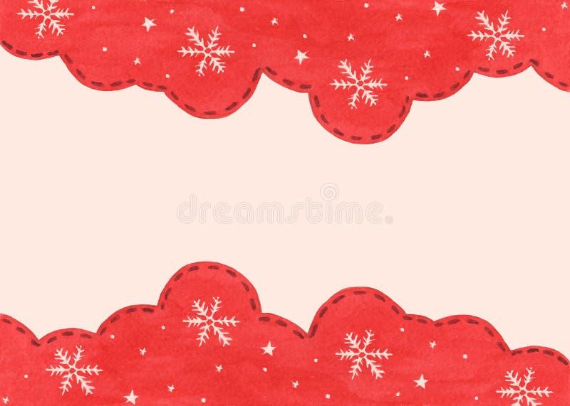 Płatek śniegowy i gwiazda w tle sezonu zimowego czerwonego nieba Zimowa granica projektu obrazy royalty free