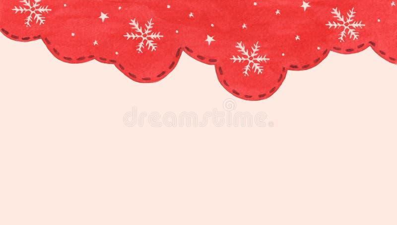 Płatek śniegowy i gwiazda w tle sezonu zimowego czerwonego nieba Zimowa granica projektu zdjęcie royalty free